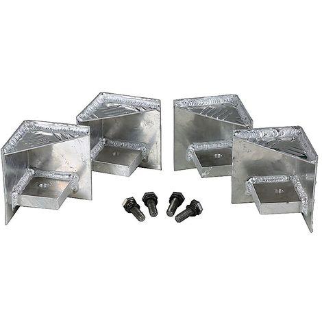 Pieds de palette - pour boîtes en tôle striée, lot de 4 - avec accessoires de fixation