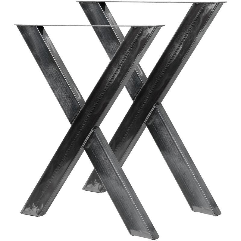 Pieds De Table En Forme X 72x60 Cm Finition Acier Vernis Pietement