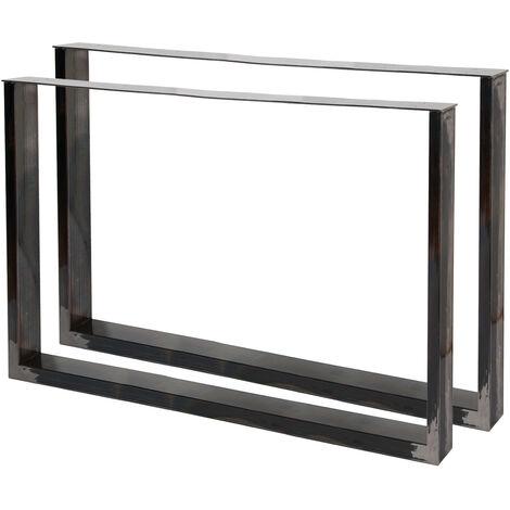 Pieds de table en Profil carré 100x72cm Acier clair Finition Vernis transparent Piètement Meuble