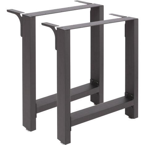 Pieds de table en Profil carré 100x72cm Noir Revêtement par poudre Piètement Meuble