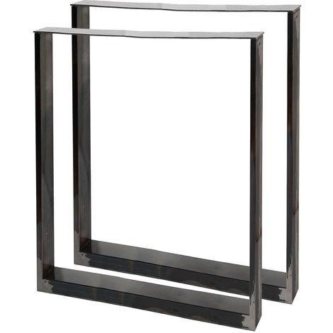Pieds de table en Profil carré 60x72cm Acier Laque transparente Piètement Meuble Support Table