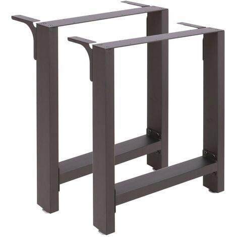 Pieds de table en Profil carré 60x72cm Revêtement en poudre Noir Piètement Meuble Support Table