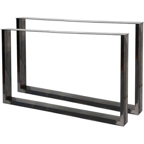 Pieds de table en Profil carré 64x40cm Acier vernis Revêtement par poudre Piètement de Table Meuble