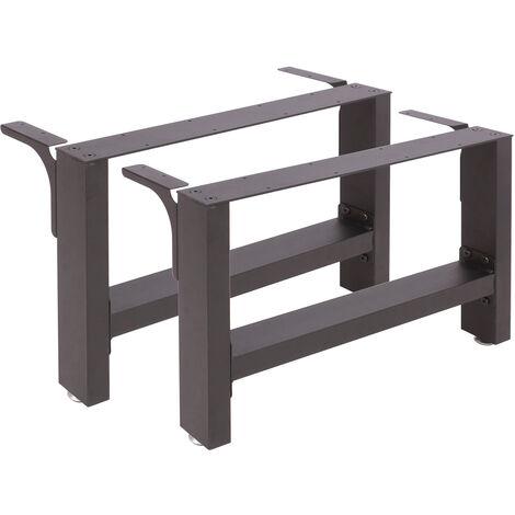 Pieds de table en Profil carré 64x40cm Noir Revêtement par poudre Piètement de Table Meuble
