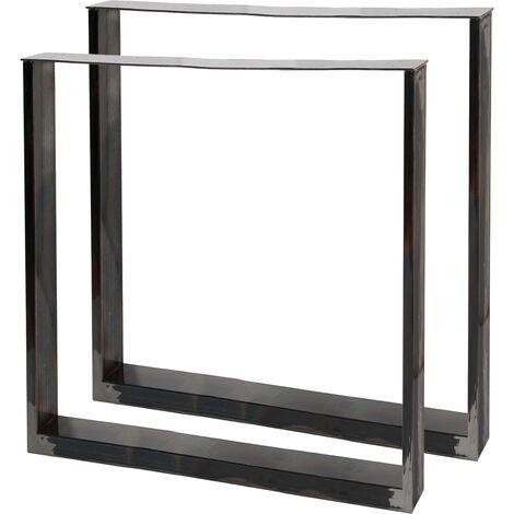 Pieds de table en Profil carré 70x72cm Acier clair Finition Vernis transparent Piètement Meuble