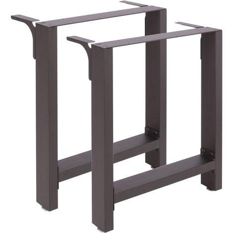 Pieds de table en Profil carré 70x72cm Noir Revêtement en poudre Piètement Meuble Support