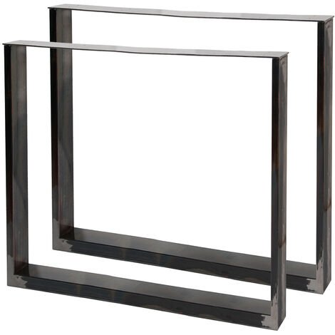 Pieds de table en Profil carré 80x72cm Acier clair Finition Vernis transparent Piètement Meuble