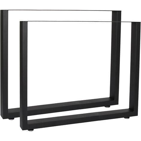 Pieds de table en Profil carré 80x72cm Noir Revêtement par poudre Piètement Meuble