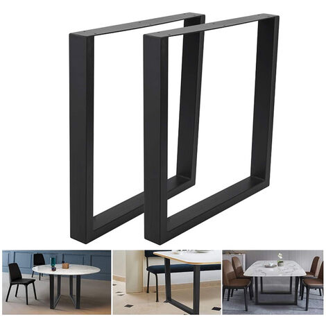 Pieds de Table en Profil Carré 90x72cm Revêtement en Poudre Noir Piètement Meuble Support Table