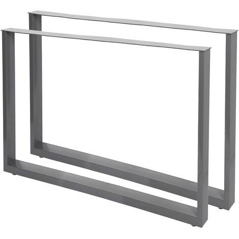 Pieds de table en Profil carré Support 90x72cm Gris Revêtement par poudre Piètement Meuble