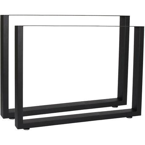 Pieds de table en Profil carré Support 90x72cm Noir Revêtement par poudre Piètement Meuble