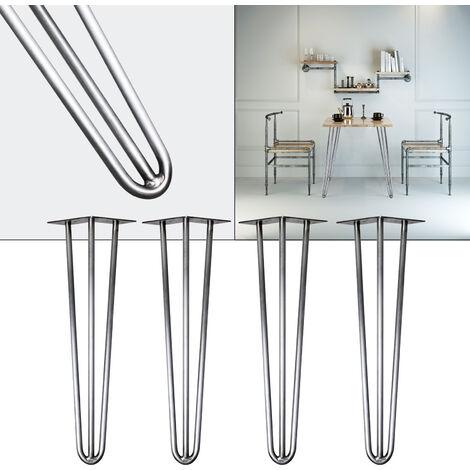 Pieds de table Hairpin Legs Support de table 4x Pieds de table en épingle à cheveux Acier 60cm