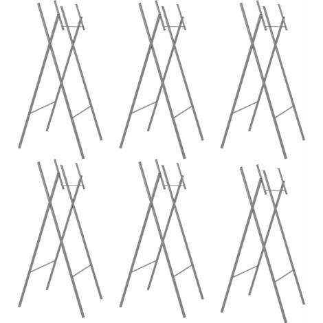 Pieds de table pliable 6pcs Argenté 45x55x112cm Acier galvanisé