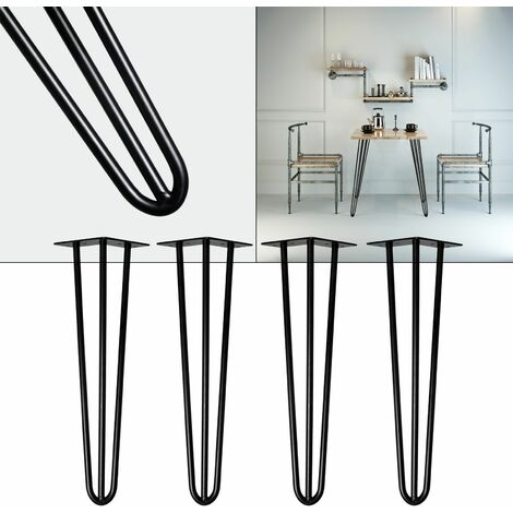 Pieds de table Support de table Set 4 pcs. Hairpin Legs Pieds de table épingle à cheveux Noir 30cm