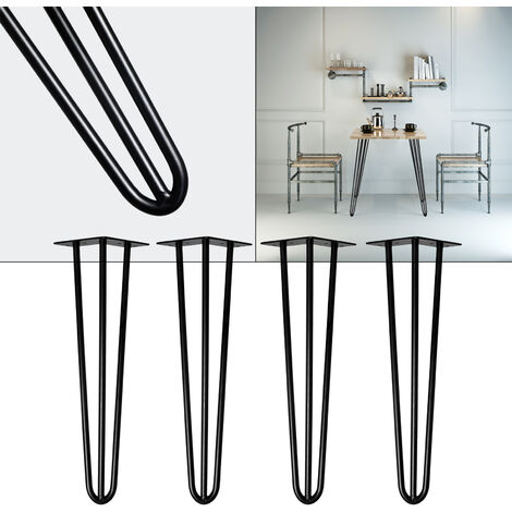 Pieds de table Support de table Set 4 pcs. Hairpin Legs Pieds de table épingle à cheveux Noir 36cm
