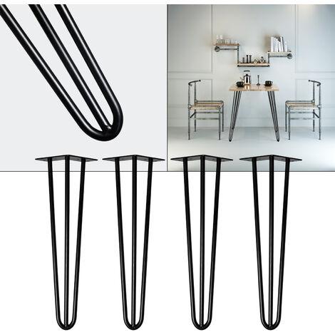 Pieds de table Support de table Set 4 pcs. Hairpin Legs Pieds de table épingle à cheveux Noir 60cm