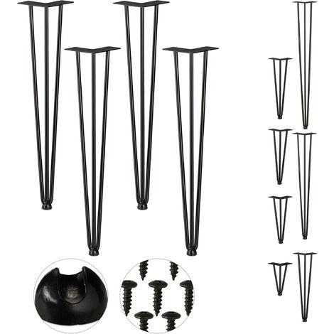 Pieds en épingle à cheveux, jeu de 4, 3 entretoises, en métal,tabourets, table et armoire,60cm, 3 entretoises