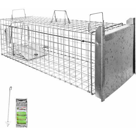 Piège à Animaux Humaine Animal Vivant Piège Cage 102 x 34 x 34 cm Chat Renard Raton Castor Laveur Petigi