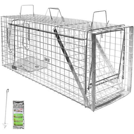 Piège à Animaux Humaine Animal Vivant Piège Cage 105 x 34 x 42 cm Chat Renard Castor Raton Laveur Petigi