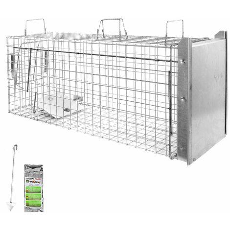Piège à Animaux Humaine Animal Vivant Piège Cage 105 x 34 x 42 cm Chat Renard Raton Castor Laveur Petigi