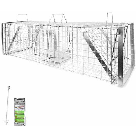 Piège à Animaux Humaine Animal Vivant Piège Cage 120 x 34 x 34 cm Chat Renard Castor Raton Laveur Petigi