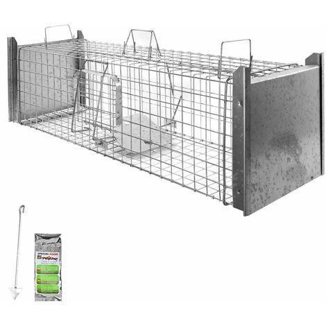 Piège à Animaux Humaine Animal Vivant Piège Cage 120 x 34 x 34 cm Renard Chat Castor Raton Laveur Petigi