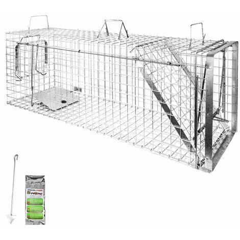 Piège à Animaux Humaine Animal Vivant Piège Cage 120 x 34 x 42 cm Chat Renard Castor Raton Laveur Petigi