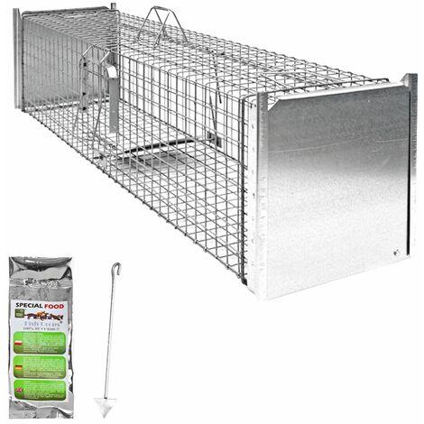 Piège à Animaux Humaine Animal Vivant Piège Cage 130 x 34 x 34 cm Chat Renard Raton Castor Laveur Petigi