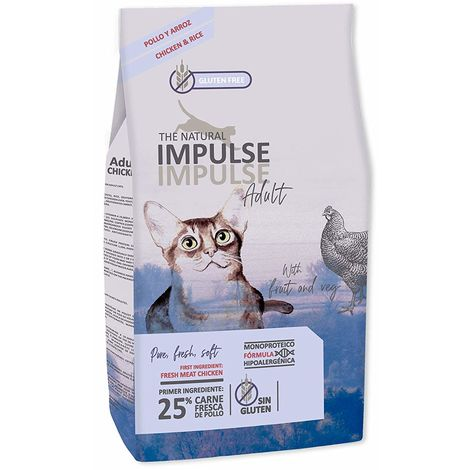 Pienso para Gatos Adultos NATURAL IMPULSE CAT ADULT - 10 kg (1 Saco 8 kg + 1 Saco de 2 kg Gratis)