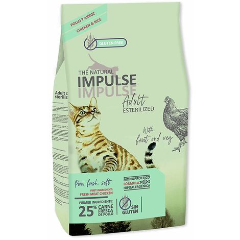 Pienso para Gatos Esterilizados NATURAL IMPULSE CAT STERILIZED - 10 kg (1 Saco 8 kg + 1 Saco de 2 kg Gratis)