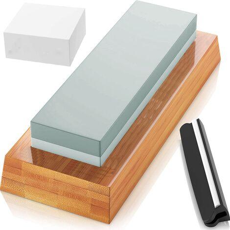 Pierre à aiguiser de qualité supérieure pour pierre à aiguiser, 2 côtés, grain 400/1000, pierre à aiguiser avec pierre à aplatir et base en caoutchouc antidérapante