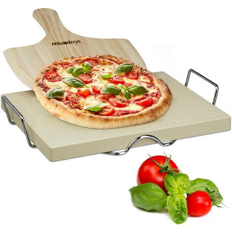 """main image of """"Pierre à pizza 3 cm épaisseur pierre à pain rectangle support en métal pelle à pizza en bois HxlxP: 7 x 43 x 31,5 cm cuisson au four flammèches spatule pizza en bois, nature"""""""