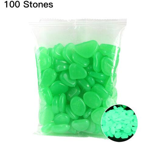 Pierre de galets d'aquarium fluorescent, jardin de reservoir de poissons, pierres colorees lumineuses, paquet de 100 style turquoise 9