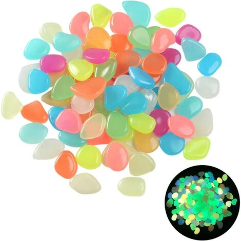 "main image of ""Pierre Lumineus, Bright Pebbles, Phosphorescent Pebbles, Fluorescent Pebbles, Aquarium Bright Stone, Suitable for Decorative Vases, Micro Landscape, Mixed Colors (100pcs)"""