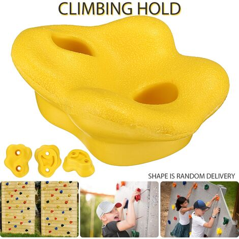 Pierres d'escalade main tenir mur escalade outil en plastique Kit de jouets pour enfants d'intérieur Jaune
