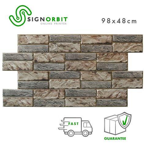 Pietra Espansa Scura - Pannelli per parete in PVC finta pietra scura effetto 3D 98x48cm x 0.4mm 2Pz 1Mq