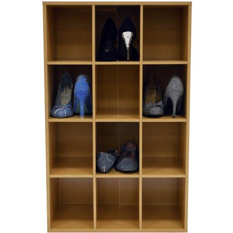 PIGEON HOLE - 12 Pair Shoe Storage / Display / Media Shelves - Beech
