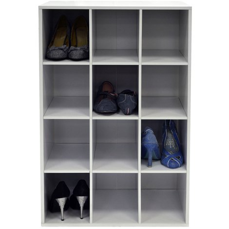 PIGEON HOLE - 12 Pair Shoe Storage / Display / Media Shelves - White