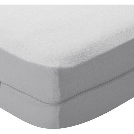 Pikolin Home - Funda de colchón azul de rizo elástico. Transpirable 150x200cm , Cama de 150 , Blanco