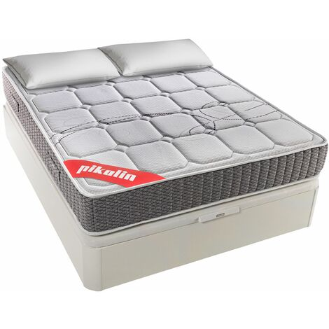PIKOLIN I Pack Colchón de muelles ensacados 90x190 + canapé con Base abatible y Almohada de Fibra - Troas