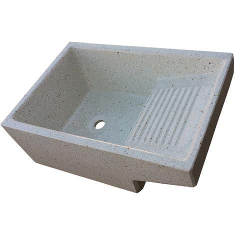 Pila con Lavadero de piedra para exterior o interior blanca