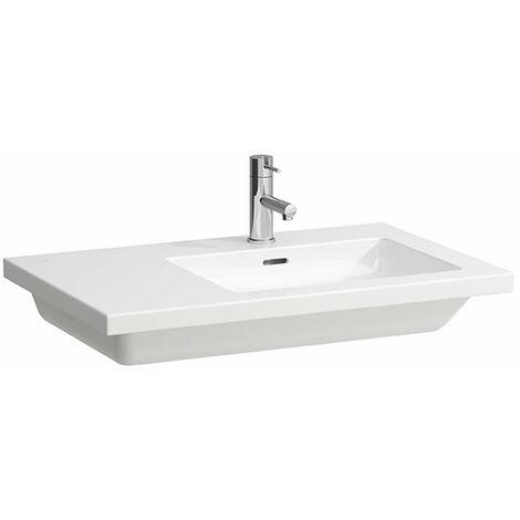 Pila de lavabo cuadrada, asimétrica, con 1 agujero para grifo, con rebosadero, 750x480, blanca - H8174390001041