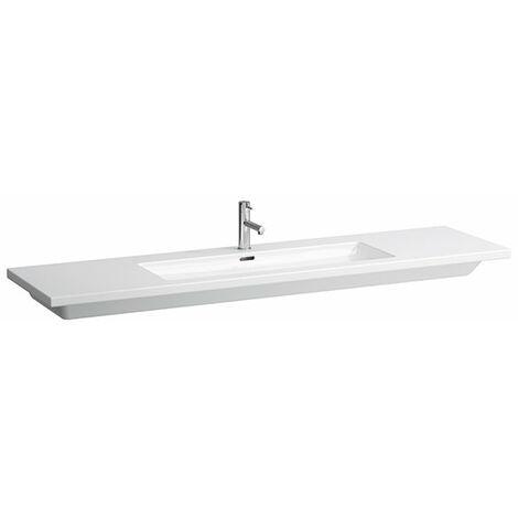 Pila de lavado cuadrada, 1 agujero para grifo, con rebosadero, 1800x480, se puede cortar por un lado hasta 140 cm de color blanco - H8164380001351
