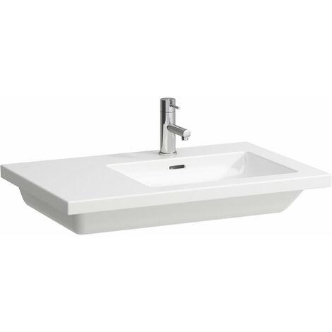 Pila de lavado cuadrada, asimétrica, con 3 agujeros para grifos, con rebosadero, 750x480, blanca - H8174390001081
