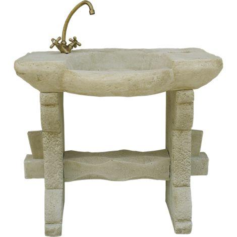 Pila Lavamanos Rústica para interior o exterior en hormigón-piedra 90x55x88cm.