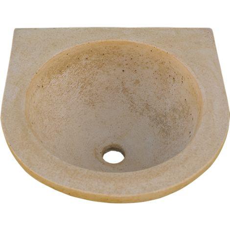Pila Lavamanos Rústica redonda para interior o exterior en hormigón-piedra 40x40x16cm.