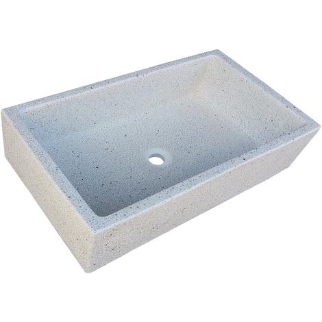Pila, Pilón, Fregadero o Lavadero de piedra blanco de 91x53x22 cm.