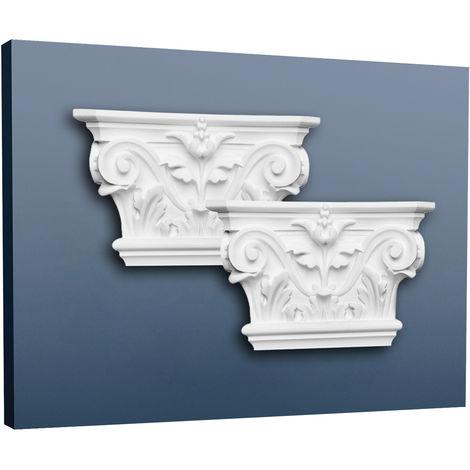 Pilaster Capital Decoration element Stucco Orac Decor K201LR LUXXUS made of light rigid foam white