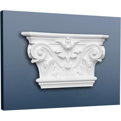 Pilastre Chapiteau Elément décoratif de stuc Orac Decor K201 LUXXUS Motif feuille d'acanthe léger et stable blanc