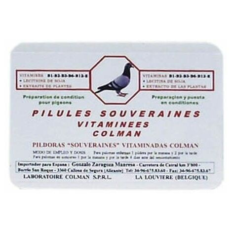 Píldoras Multivitaminadas para palomas SOUVERAINES COLMAN 100 pildoras